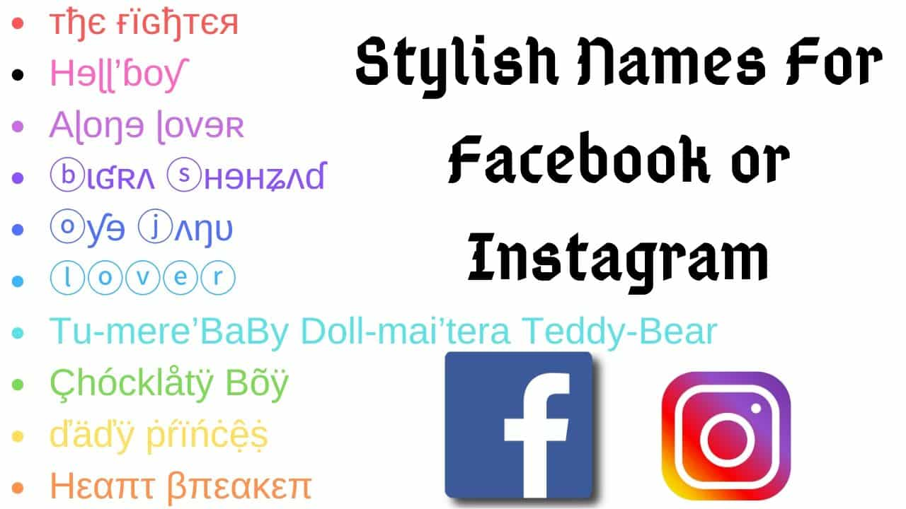 stylish names for facebook